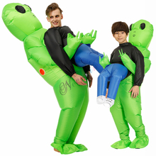 Green Alien Inflatable Costume Adult Kids Funny Blow Up Suit Party Fancy Dress Unisex Costume Christmas Halloween Costume