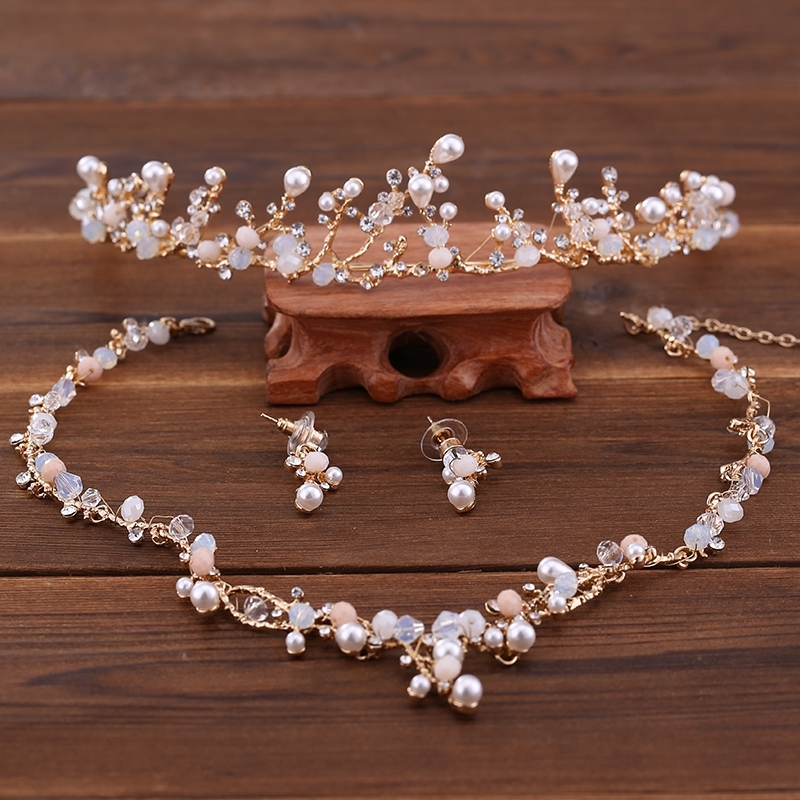 Wedding-Sets Earrings Necklace Tiaras Bride-Hair-Accessories Women for Bling