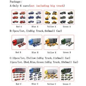Image 5 - Большой грузовик и 6 шт. мини Литой автомобиль модель 1:64 масштаб Игрушки транспортные средства Перевозчик грузовик инженерный автомобиль игрушки для детей мальчиков
