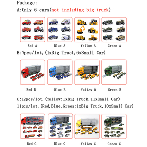 Image 5 - Big Truck & 6PCS Mini Alloy Diecast Car Model 1:64 Scale Toys Vehicles Carrier Truck Engineering Car Toys For Kids Boys