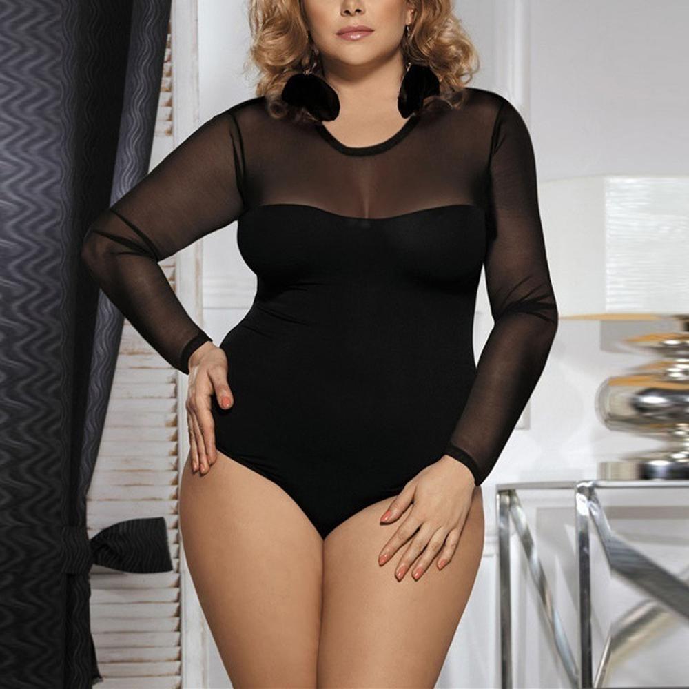 2019 Long Sleeve Mesh Round Neck Sexy See Through Bodysuit Autumn Winter Women Party Streetwear Outfits Club Body Plus Size 5xl