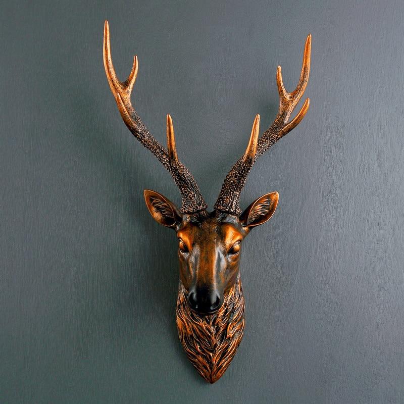 European deer head wall hanging mural living room bar retro wall decoration personality animal three-dimensional pendant