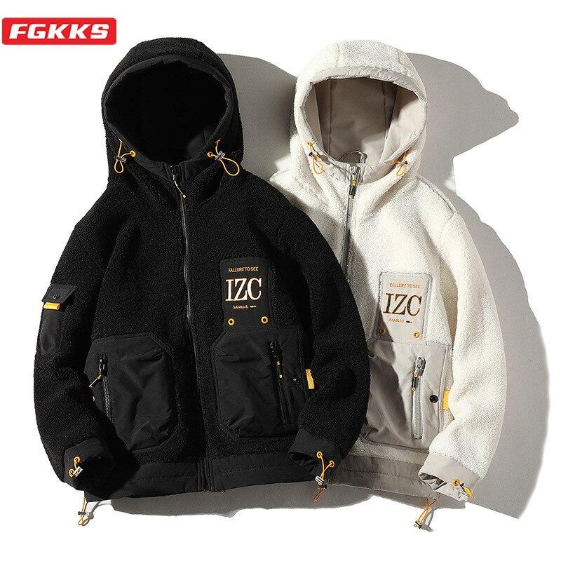 FGKKS Brand Men's Jackets Zip pocket Decoration Men Warm Wash Jacket Fashion High Street Hooded Patchwork Trend Jackets Male