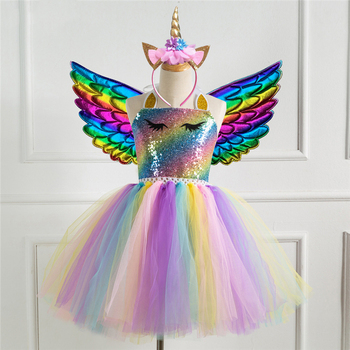 Unicorn Costume Cosplay For Girls Halloween Costume For Kids Unicorn Birthday Party Carnival Dress Up Suit infant toddlers baby boys girls raccoon cosplay costume for halloween christmas purim holiday dress up party
