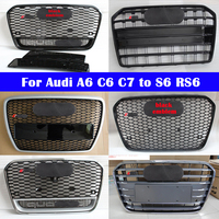 For Audi A6 C6 C7 2004 2018 to S6 RS6 style Car styling Middle grille ABS plastic front bumper grill Center Grille vertical bar