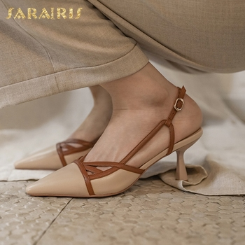 Sarairis Fashion Hot Sale Genuine Leather Strange Style Summer Sandals Woman Shoes Buckle Strap Mixed Colors Women Sandals