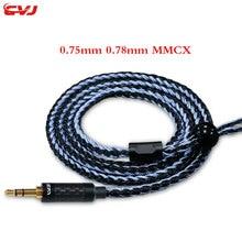 CVJ 16 strand 352core посеребренный профессиональный кабель 0,75 мм 0,78 мм mmcx Улучшенный кабель для наушников запасной сменный кабель 3,5 мм разъем