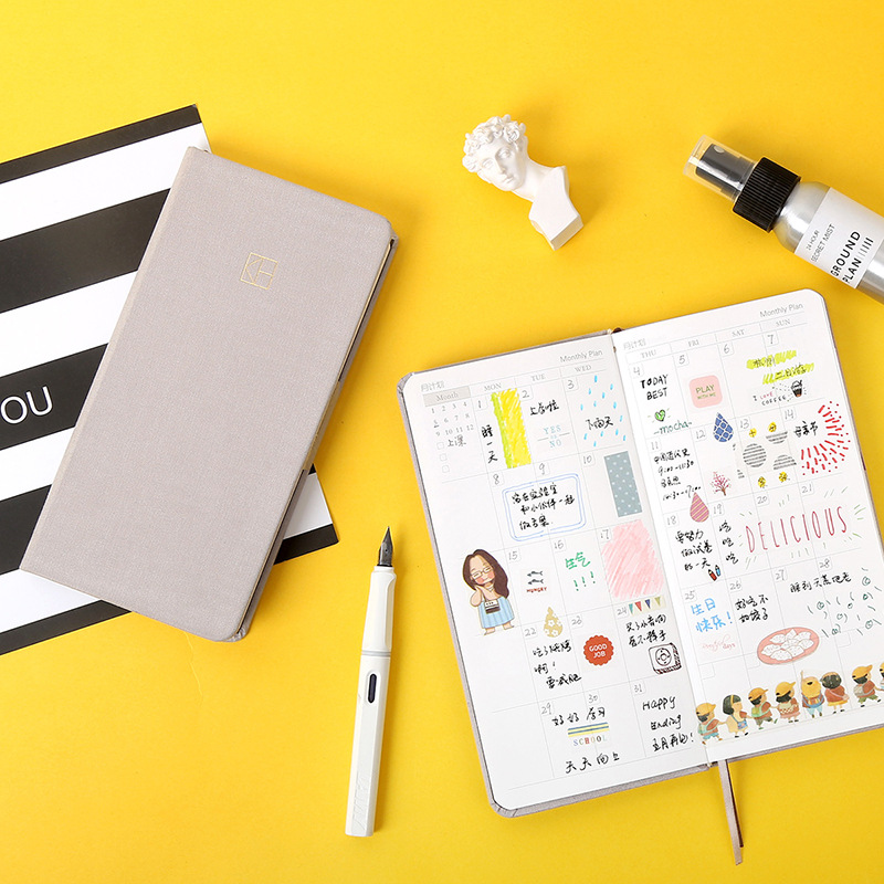 Creative DIY Weekly Plan Notebook Pure Color Pocket Journal Planner Diary Note Paper Gifts School Office Stationery Supplies-in Notebooks from Office & School Supplies