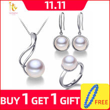 NYMPH Pearl Jewelry Sets Natural Freshwater Pearl Necklace Pendant Earrings Bracelet Fine Jewelry For Women Gift[tc1027](China)
