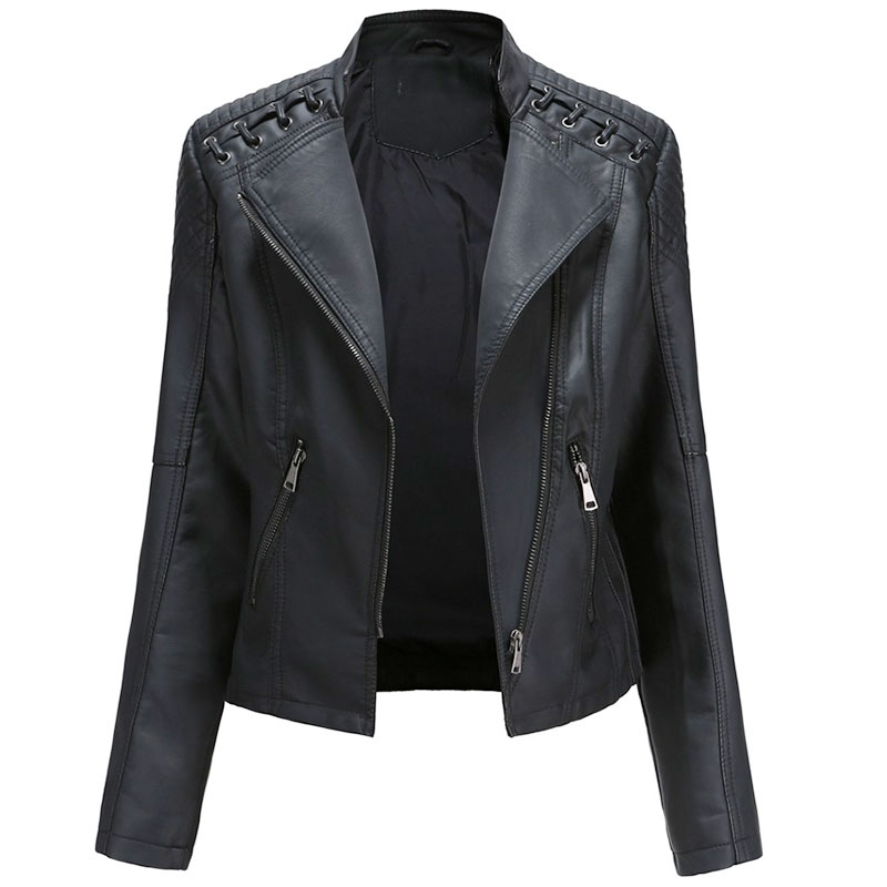 2020 Women's Jacket European Fashion Leather Jacket Pimkie Cleaning Single PU Leather Motorcycle Temale Women's Leat(China)