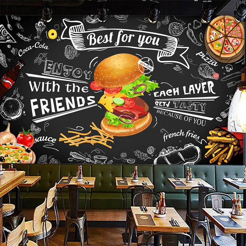 Custom Mural Wall Paper 3D Burger Fast Food Restaurant Coffee Shop Kitchen Photo Backdrop 3D Wall Murals Wallpaper Living Room