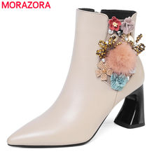 MORAZORA 2020 New arrival genuine leather boots pointed toe strange high heels office lady shoes flowers autumn ankle boots(China)