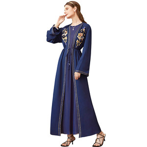 Muslim robe coat women dark blue applique rhinestone abaya cardigan Islam clothing kaftan dubai open abaya musilim kimono MSL867