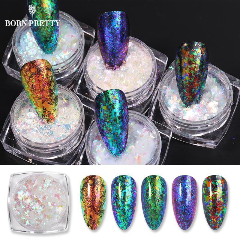 Блестящие Блестки для ногтей BORN PRETTY, Блестящие Блестки, необычная звезда, круглые переливающиеся блестки, хромированная пудра для ногтей, у...