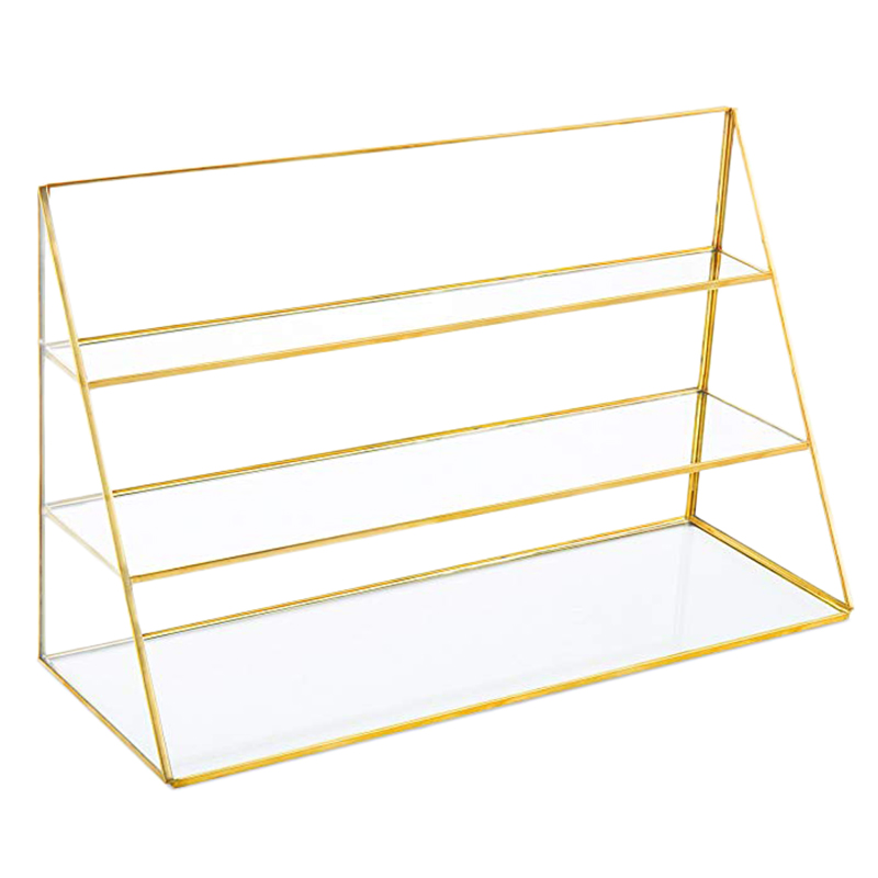 3-Tier Glass Jewelry Display Showcase With Gold-Tone Metal Frame