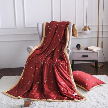 One piece Washed silk summer quilt Twin Queen printing blanket for single double home bedding