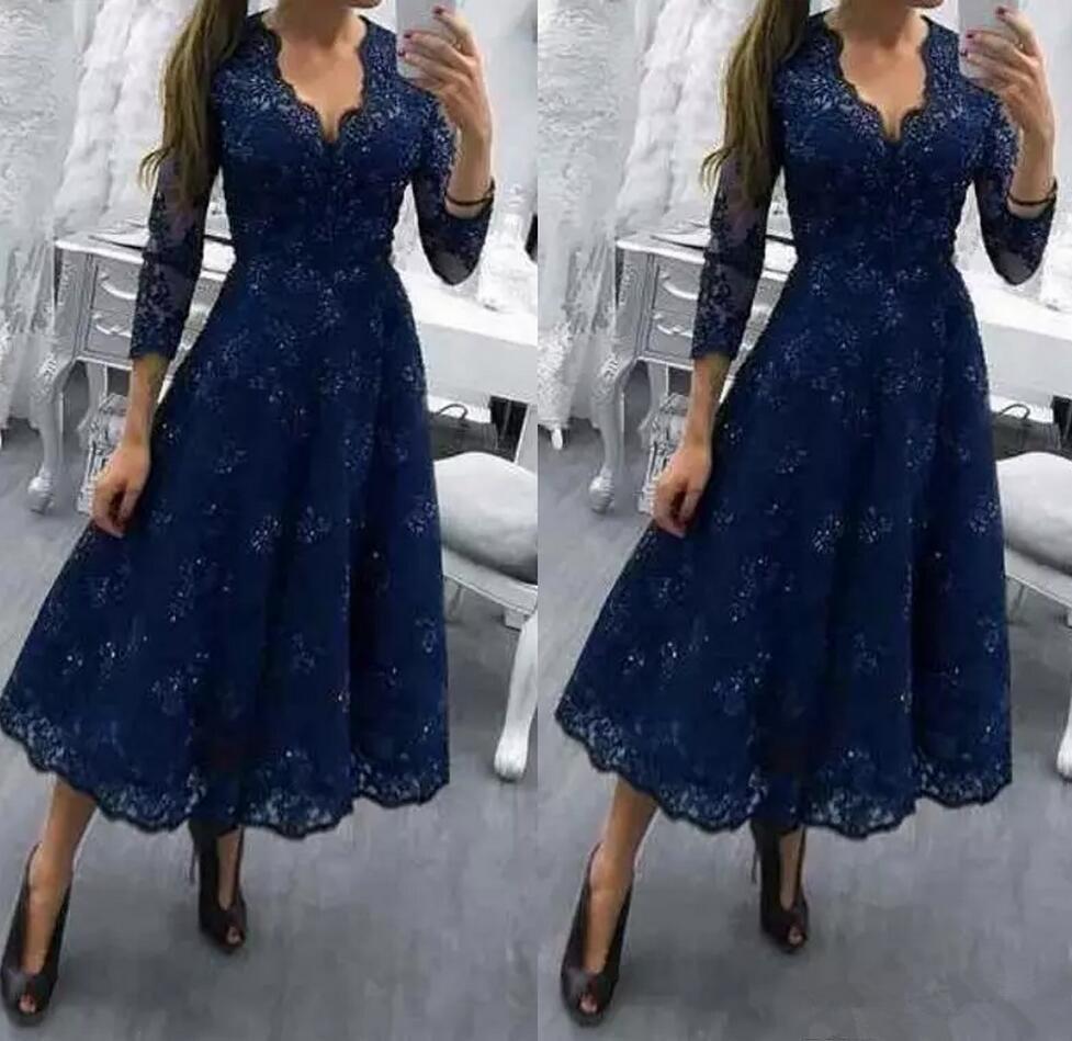 Bleu marine col en v dentelle perles robe de soirée a-ligne thé longueur mère robe de mariée
