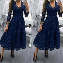 Navy Blue V-neck Lace Beads Evening Gown A-line Tea Length Mother Bride