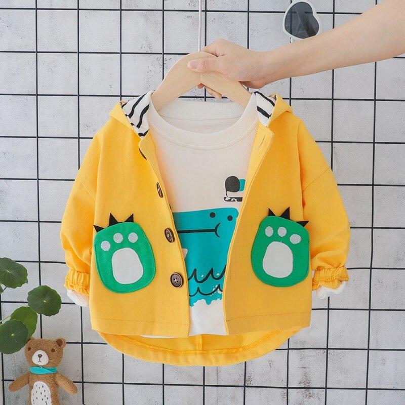 Boys Jacket Coat Spring Autumn Children\'s Jacket Baby Clothes Cartoon Dinosaur Pattern Hooded Jacket Tops Outwear|Jackets & Coats|Mother & Kids - title=