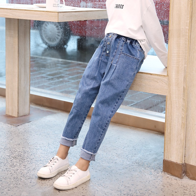 2019 New Spring Autumn Children Cotton Solid Denim Leggings Pants for Girls Harem Pants Kids Girls Loose Jeans Kids Trousers in Jeans from Mother Kids
