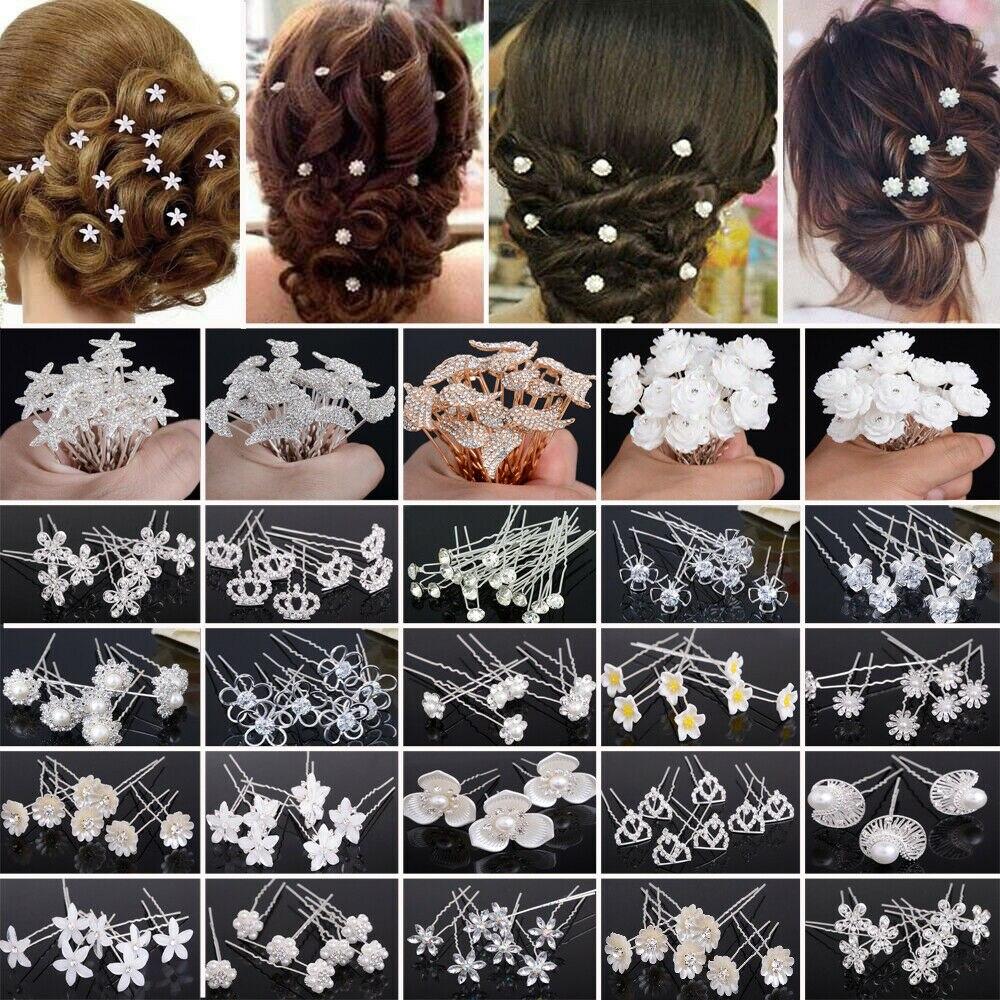 20 штук Свадебный ободок с жемчужинами роза цветок заколки для волос, заколки с украшением в виде кристаллов Стразы заколки для невесты женские аксессуары для волос Украшения для волос      АлиЭкспресс
