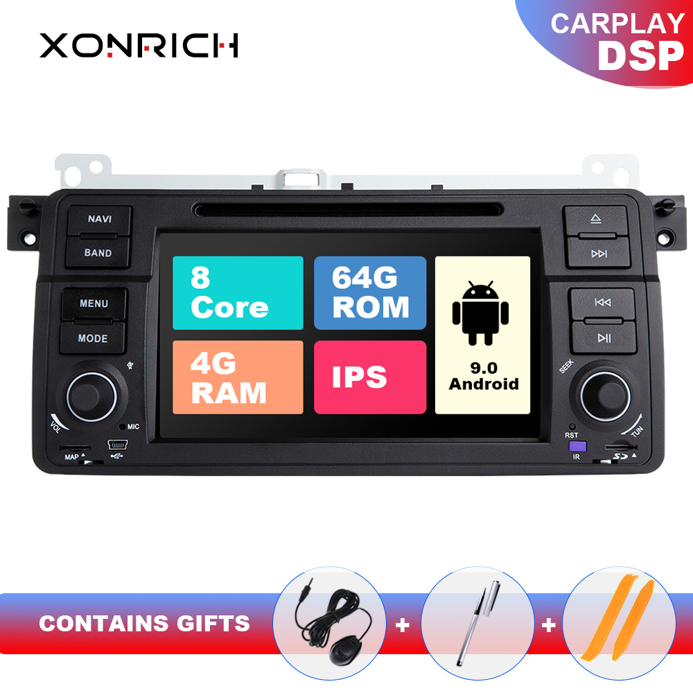 DSP <font><b>8</b></font> Core AutoRadio <font><b>1</b></font> <font><b>Din</b></font> <font><b>Android</b></font> 9 Car Multimedia For BMW E46 M3 318/320/325/330/335 Rover 75Coupe Navigation GPS Audio 4+64GB image