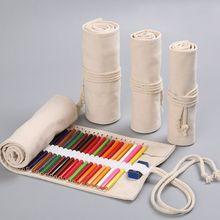 12/24/36/48/72 Holes Canvas Roll Up Pen Curtain Pencil Bag Case Makeup Wrap Holder Storage Pouch School Supplies