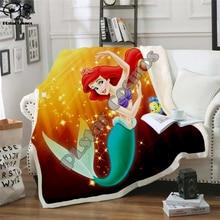 Kids Anime Mermaid 3D Blanket Fleece Cartoon princess Print Children Warm Bed Throw Blanket newborn bayby Gril Blanket style 021