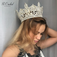 PEORCHID 2020 Luxury Full Crystal bridal Crown Miss Universe Pageant Big Crown Tiara Mujer Rhinestone Bride Wedding Accessories