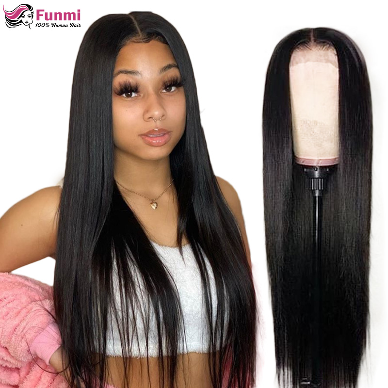 Funmi Hair Straight Lace Front Wigs For Women Brazilian 150% 180% 250% Density Straight Lace Front Human Hair Wigs Pre-Plucked