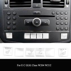 Chrome For Mercedes Benz C E GLK Class W204 W212 X204 Console CD Panel Switch Button Sequins Cover Stickers Interior Accessories