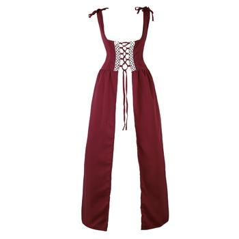 Women Renaissance Medieval Costume Dress Vintage Patchwork Bandage Dress Lace Up Irish Over Dress Cosplay Retro Gown Plus Size цена 2017