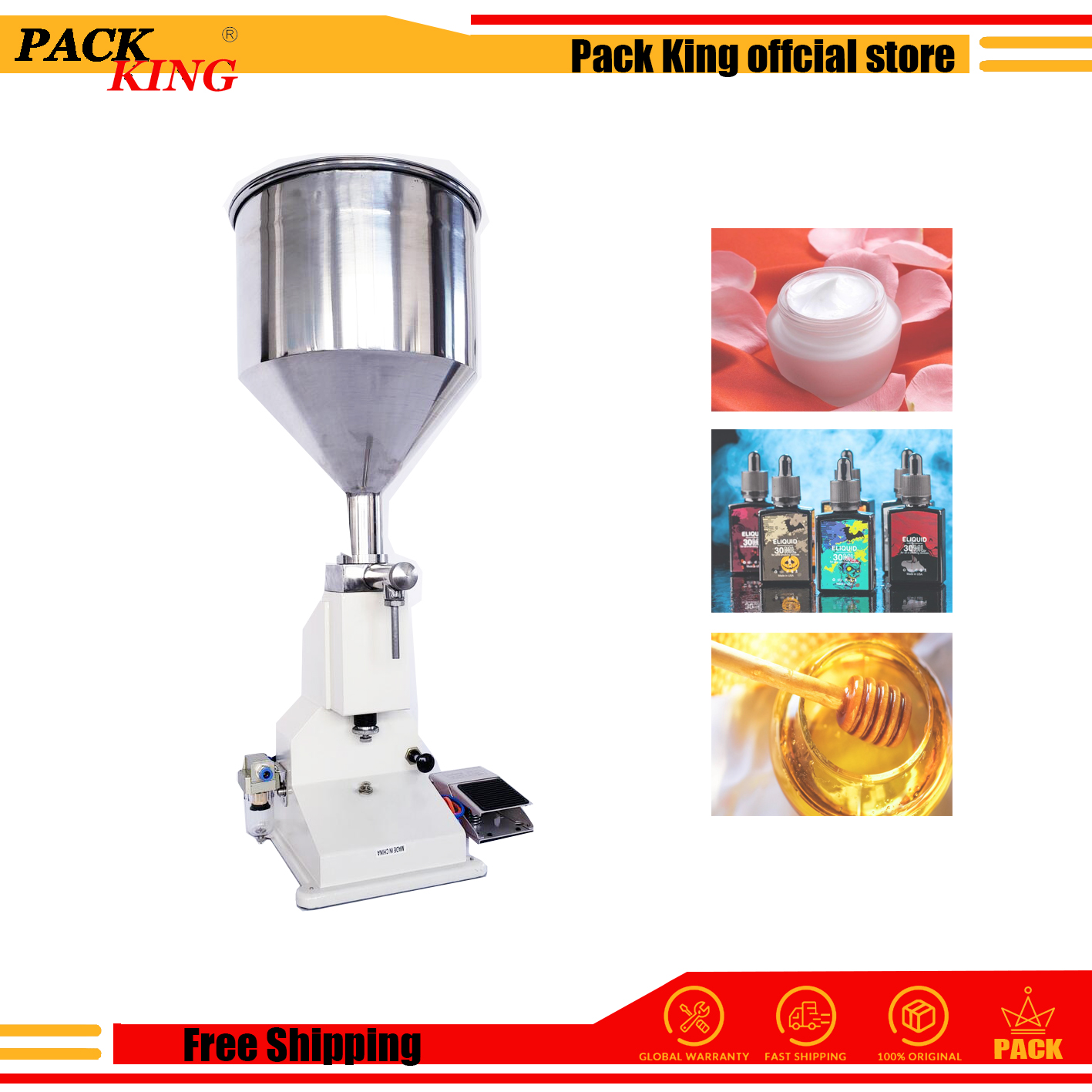 Pneumatic Filling Machine A02 Cream Honey Eliquid Oil Nail Polish Cosmetic Paste Liquor Filler Perfume Juice Uv Liquid