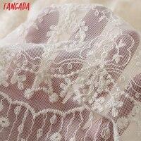 Tangada 2021 Women Beige Embroidery Romantic Long Dress Strap Adjust Females Maxi Dresses Vestidos 6H51 5
