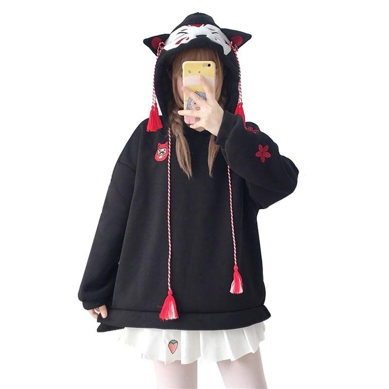 Japanese Cute Street Fashion Women Hoodies Harajuku Kawaii Fox Ear Hooded Sweatshirt Sakura Embroidery Plus Velvet Pullover Tops