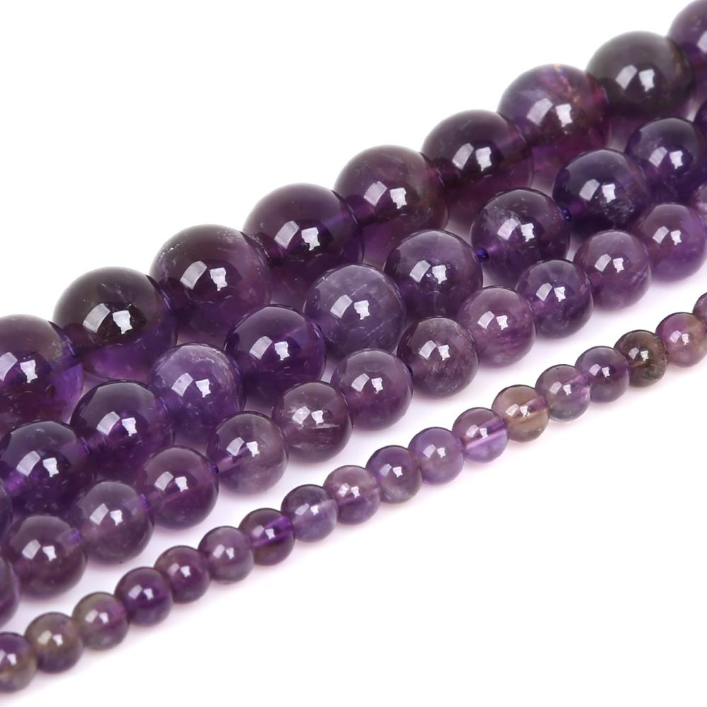 """Pierres naturelles daméthystes violettes pour la fabrication de bijoux, perles rondes en vrac 15 """", brin 4, 6, 8 et 10 MM au choix"""