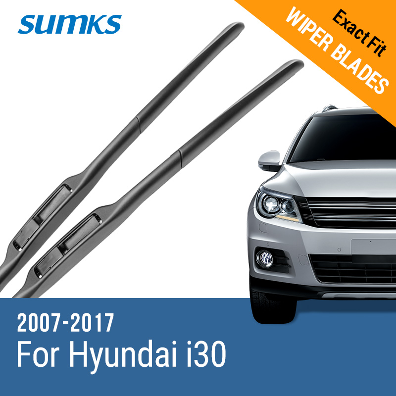SUMKS Wiper Blades untuk Hyundai i30 Fit Push Button / Hook Arms 2007 2008 2009 2010 2011 2012 2013 2014 2015 2016 2017