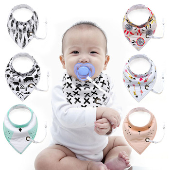 Baby Triangle Towel Pure Cotton Double-deck Bib With Chain  Thick Water Absorption Newborn Fashion Scarf Kids Things
