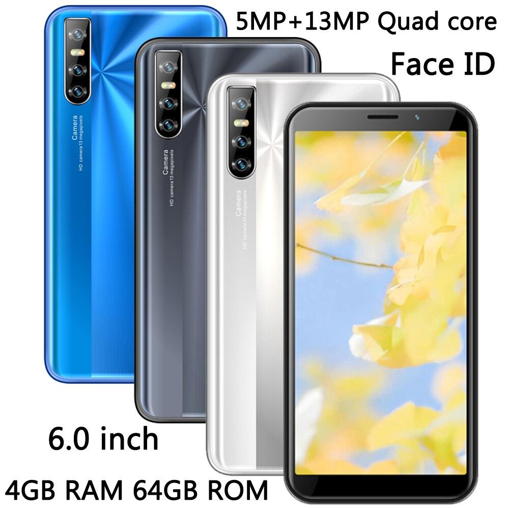 """6.0 """"grand écran 10i 4G RAM 64G ROM Quad Core visage ID téléphones mobiles débloqués Smartphone MT6580 téléphones Android Wifi 13MP HD caméra"""