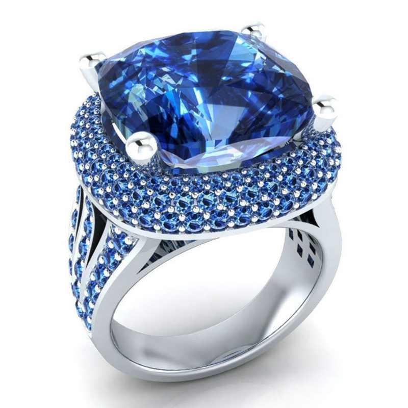 Sapphire แหวนเพชร Blue Topaz อัญมณีเครื่องประดับ Pulseras Mujer แหวน