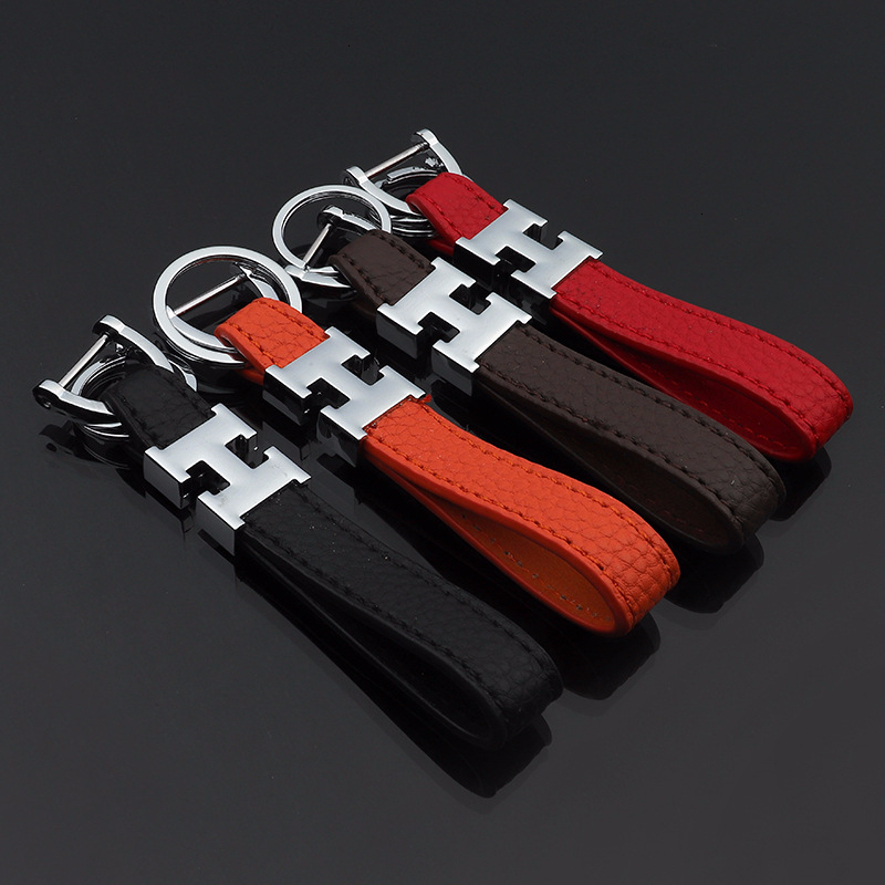 Fashion H Horseshoe Buckle Leather Keychain Luxury H Leather Trinket D Buckle Key Chain Auto Keyholder Car Locksmith Trinket