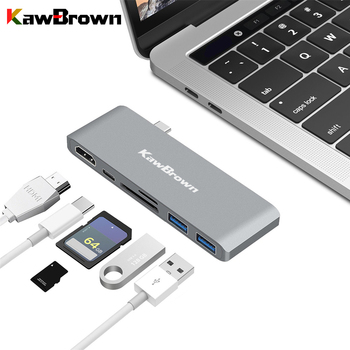KawBrown USB C Hub Type C to HDMI USB 3.0 Support PD Charging Micro SD/SD Dock Station for Macbook Laptop Computer Accessories orico aluminum hub type c to type a type c hdmi converter support pd multi function laptop station for macbook pc