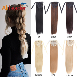 AliLeader Drawstring Natural Hair Ponytail Extension Synthetic Ombre Purple Blue Pink Green Ribbon Wrap Clip On Hairpiece Pony