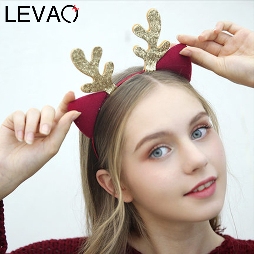 Levao 2019 Christmas Antlers Headband For Women Girls Lovely Hairband Holiday Party Hair Accessories Shiny Deer Ear Head Hoop