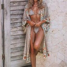 2020 yeni Bohemian baskılı artı boyutu yaz plaj kıyafeti Kimono hırka Cover up pamuk tunik kadınlar uzun bluz Tops gömlek N803