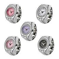 Mode Frauen Uhr Kleine Zifferblatt Quarz Analog Uhr Stahl Kühlen Elastische Quarz Ring Finger Uhr Koreanische Stil Kreative Ring Uhr