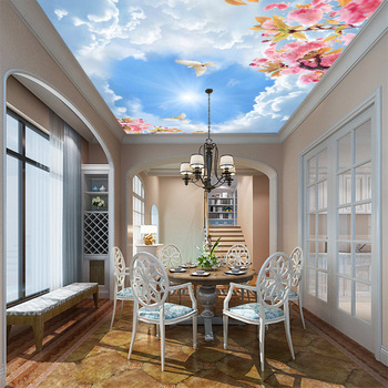 3DHot customized sky natural scenery ceiling wallpaper clear wall paper non-woven waterproof home improvement covering