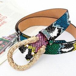 Cinturón de cuero para mujer con diseño de grafiti, vaqueros con cinturón a la cintura alto, cinturones informales para vestido, 2020