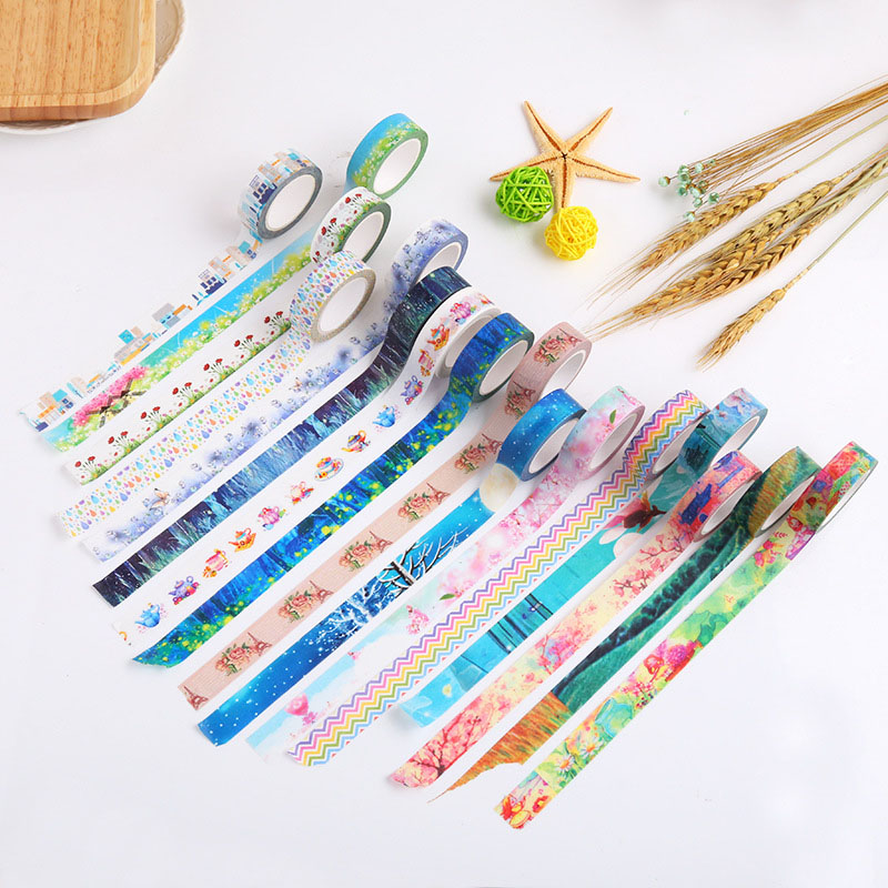 15mm*10m Cute Washi Tape Kawaii Flower Masking Tape Decorative Adhesive Tape For Sticker Scrapbooking Label Stationery Tape