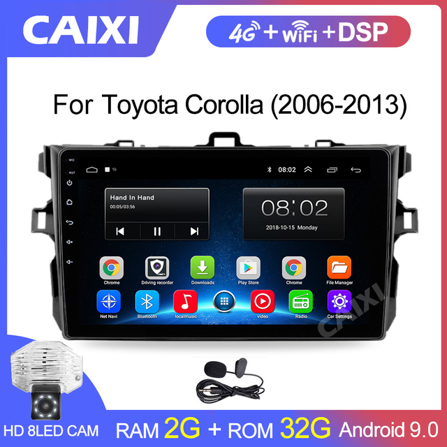 9 Inches 2din Android8.1 Car Radio Multimedia Player For Toyota Corolla E140/150 2008 2009 2010 2011 2012 2013 Stereo navigation